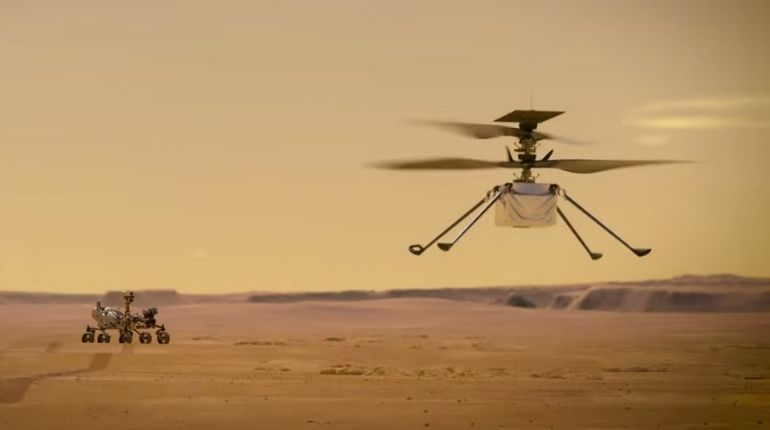An illustration of NASA's Ingenuity Helicopter flying on Mars (Credits: NASA/JPL-Caltech)