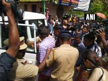 Police detain people protesting against the entry of women in the age group of 10-50 women to Kerala's Sabarimala