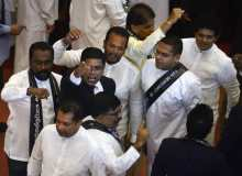 Lankan Parliament members during the no-confidence motion