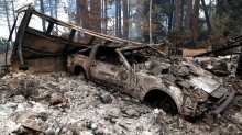 A car destroyed by wildfire in Paradise, California