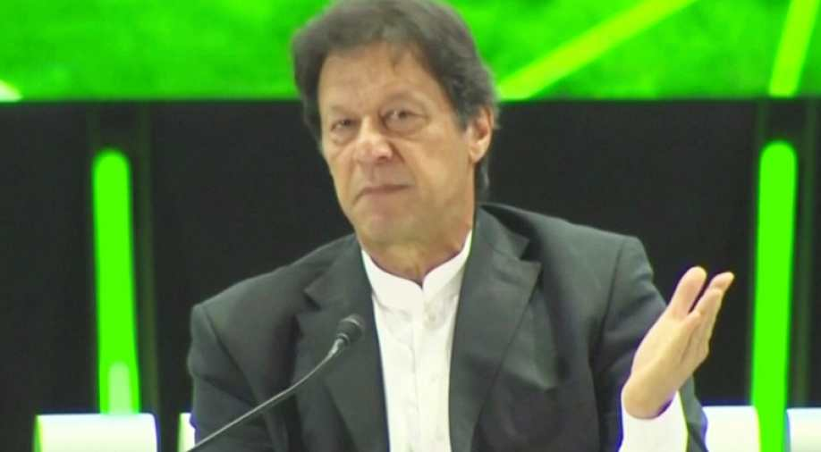 Pakistan's Prime Minister, Imran Khan speaks during a news conference at Saudi investment summit in Riyadh, Saudi Arabia October 23, 2018 in this still image taken from a video.