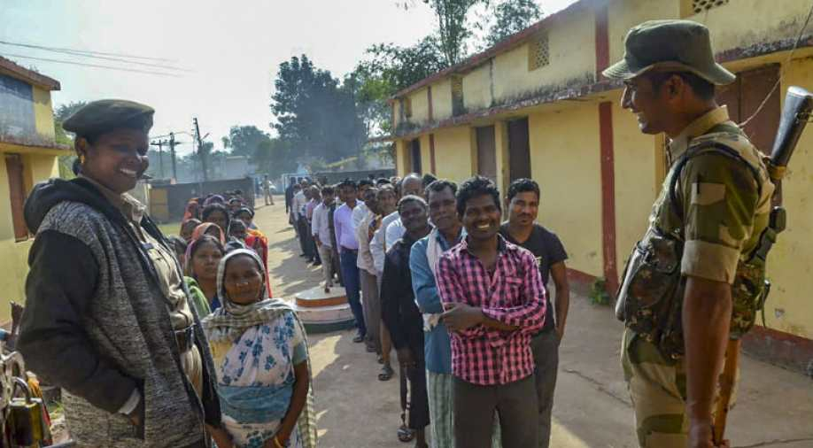 People queuing up to vote in first phase of Chhattisgarh polls.